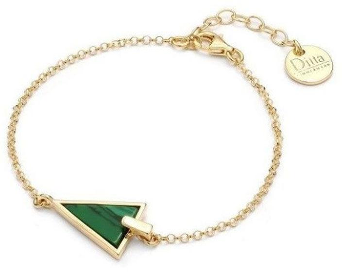 Srebrna bransoletka pozłacana 925 z malachitem trójkąt