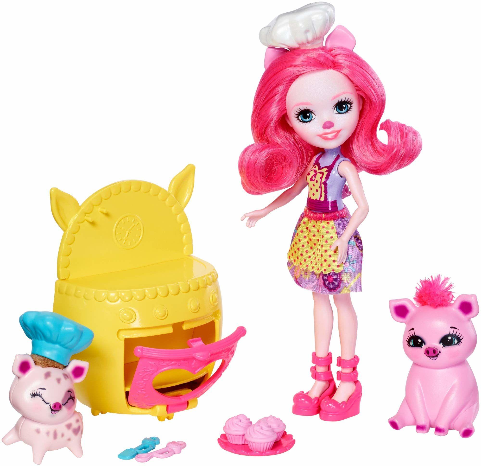 Mattel Enchantimals FJJ28 zestaw tematyczny dla miłośników Backfreunde ze świńskimi misiami, lalką Petya Pig i 2 przyjaciółmi zwierząt