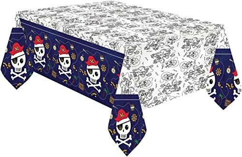 Amscan 9909914  obrus papierowy pirat, wymiary 120 x 180 cm, mapa skarbów do malowania, dekoracja stołu, urodziny dziecka, impreza tematyczna