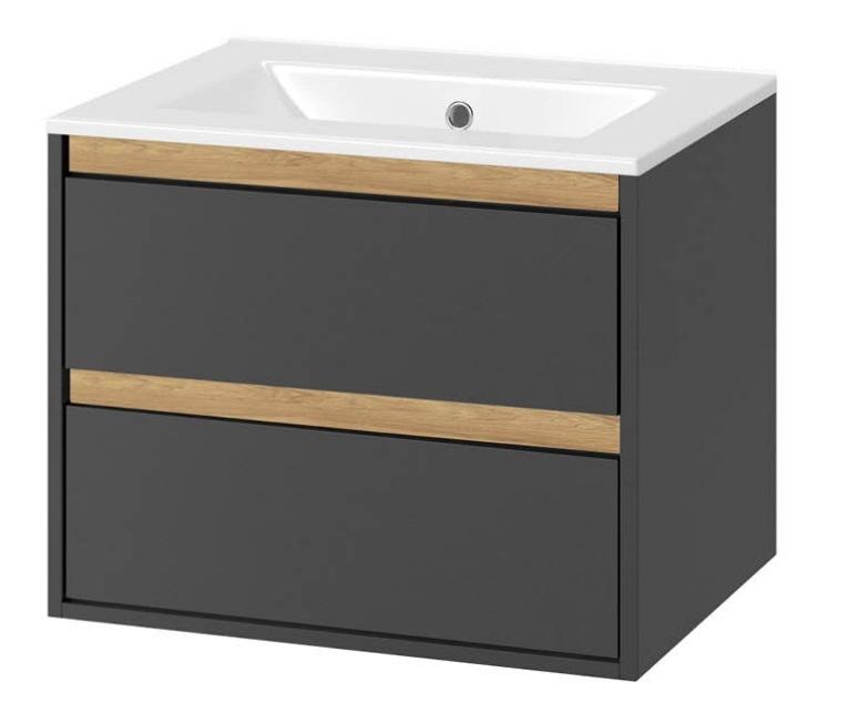 Excellent Tuto szafka wisząca z umywalką 80x50x45 cm szary dąb MLEX.0103.800.GRBL/CEEX.3617.800.WH