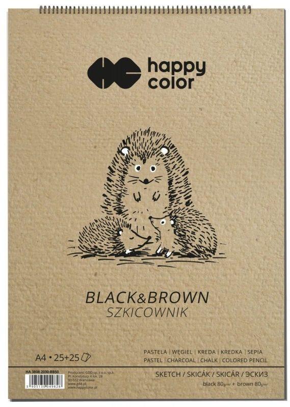 Szkicownik na spirali Happy Color Black&Brown A4 50 arkuszy 80g HA 3808 2030-BB50