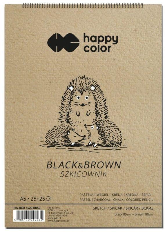 Szkicownik na spirali Happy Color Black&Brown A5 50 arkuszy 80g HA 3808 1520-BB50