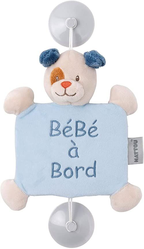 """Nattou """"Bébé à Bord"""" tabliczka z przyssawką, pies Jim, 34 x 20 x 6 cm, Jim i Bob, niebieski/beżowy"""