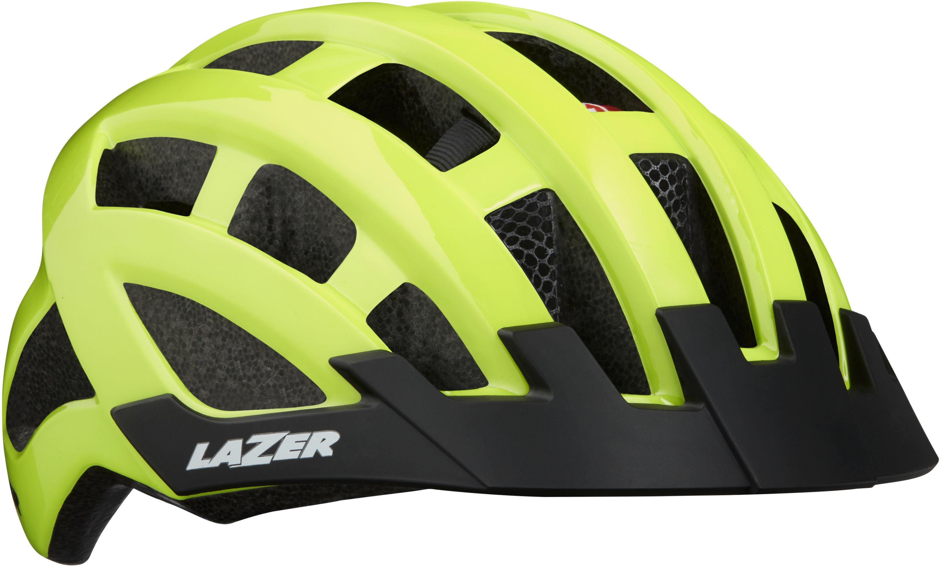 LAZER Compact DLX kask rowerowy LED siatka na owady czerwony fluor żółty połysk,5420078851932