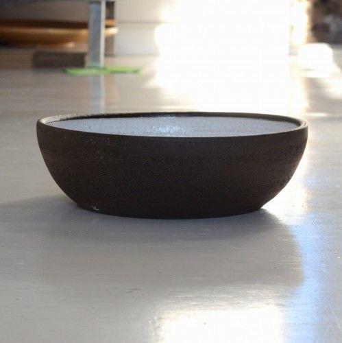 Umywalka ceramiczna nablatowa niska HANDMADE śr. 30cm brąz/biała