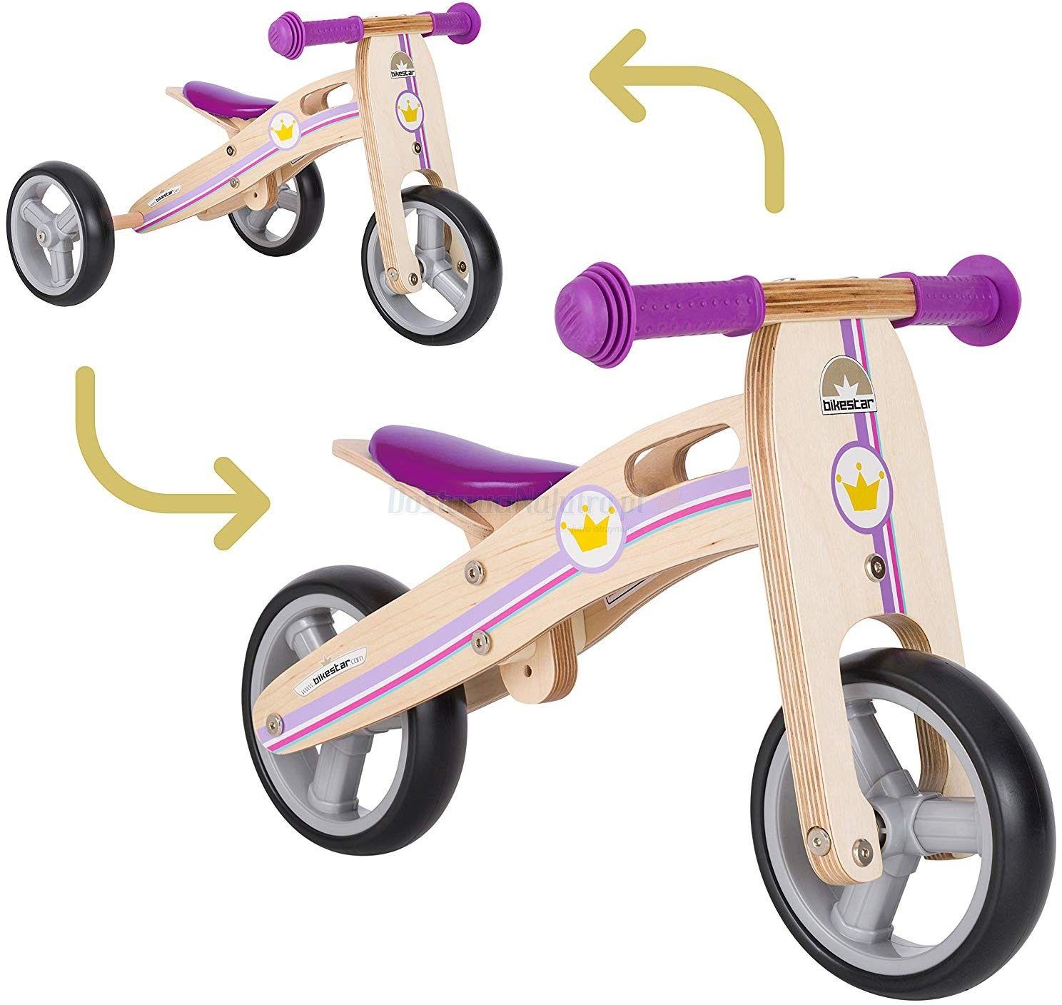 """Rowerek biegowy MINI trójkołowy Bike Star 7"""" drewniana rama Twist 2 w 1 lila"""