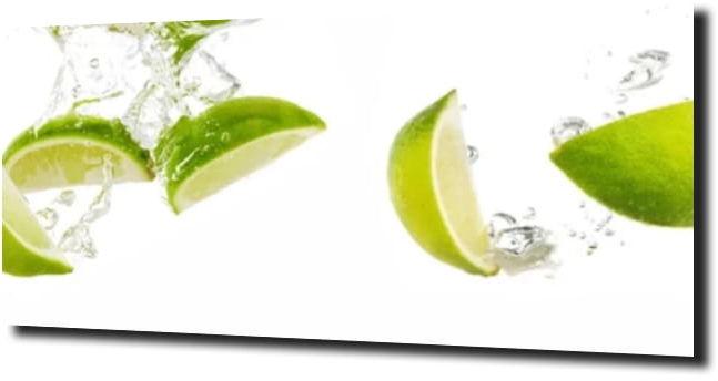 obraz na szkle Limonka woda abstrakcja