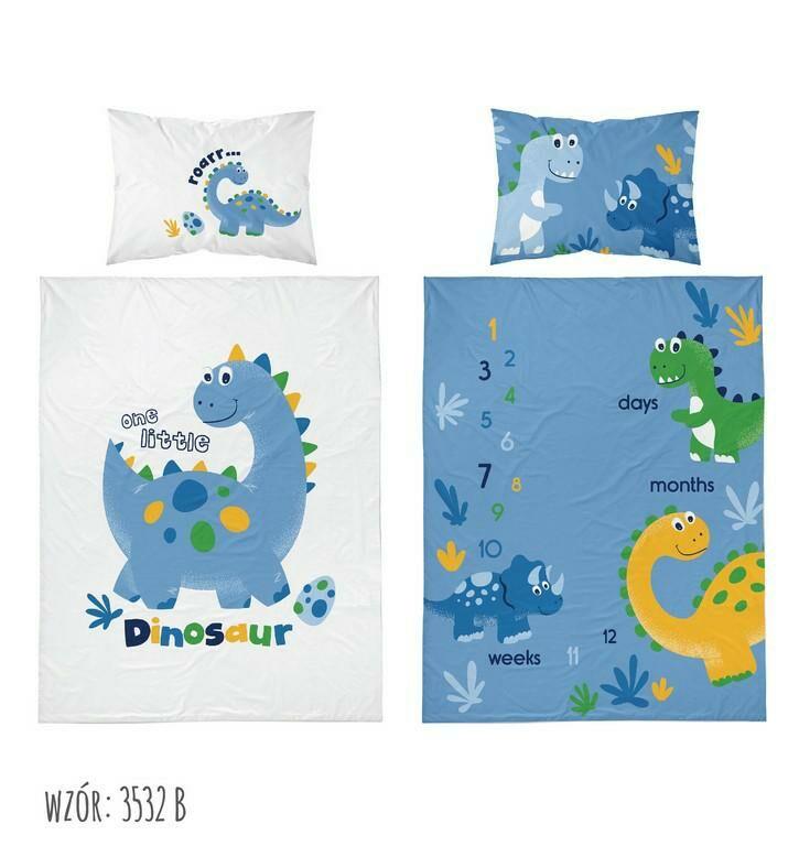 Pościel bambusowa 100x135 Dinozaury niebieska biała 3532 B Dino do łóżeczka dwustronna poszewka 40x60 6312