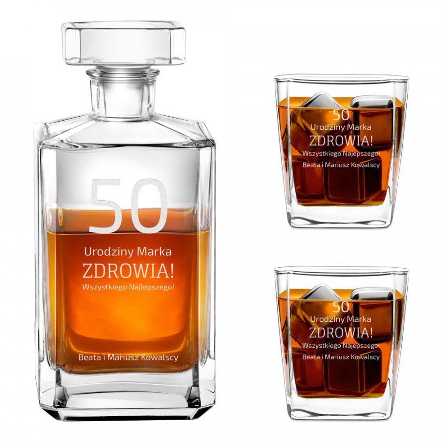 Karafka burbon 2 szklanki zestaw grawer dla niego na 50 urodziny