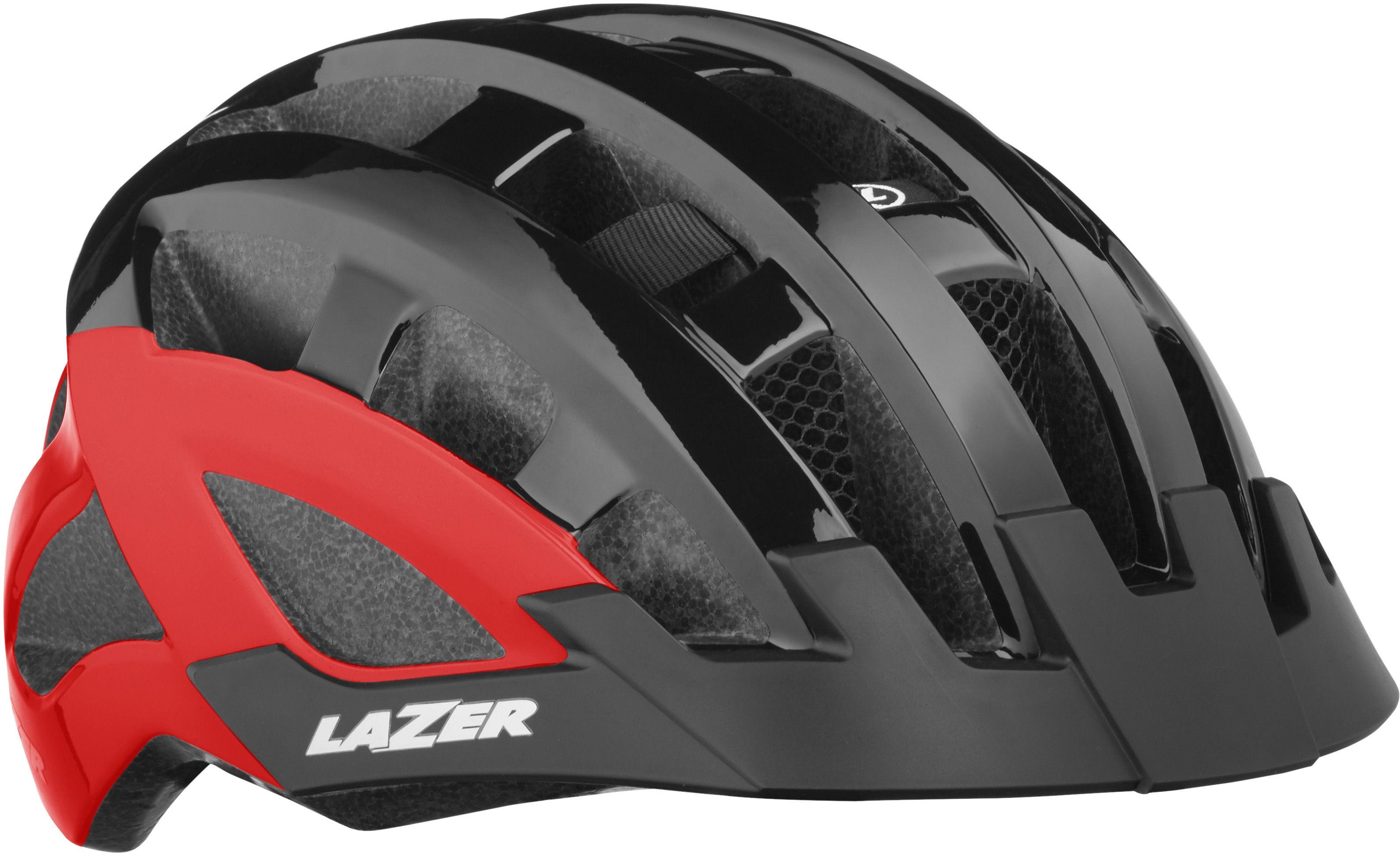 LAZER damski kask rowerowy Petit DLX Siatka +Led czarny czerwony Rozmiar: 50-56,5420078871961