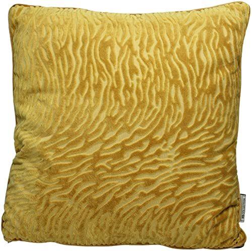 Ozdobna poduszka z wypełnieniem - aksamit - żółta - 45 x 45 cm