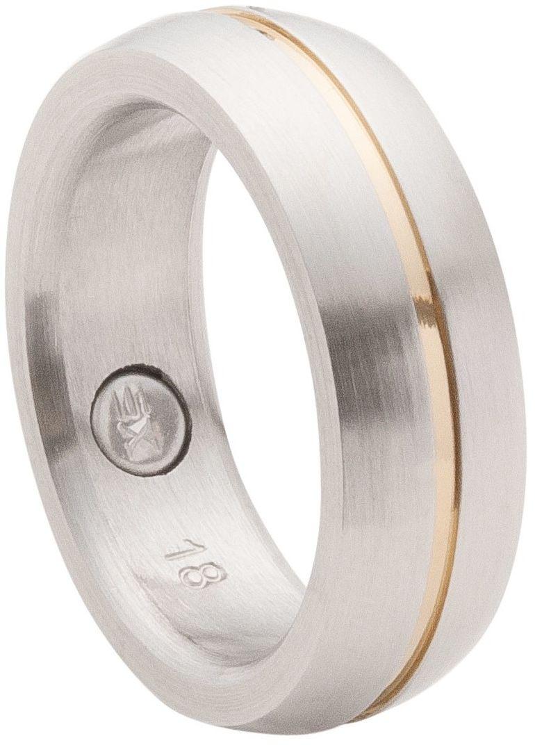 Pierścionek/obrączka magnetyczna 2143 z pozłacanym delikatnym paskiem pośrodku