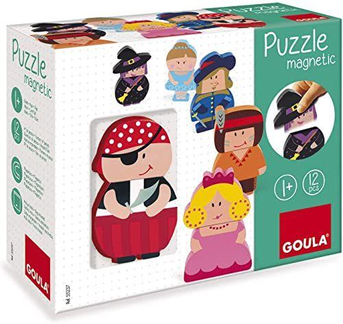 Goula magnetyczne puzzle drewniane figurki 12-częściowe