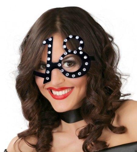 """Okulary imprezowe na 18 urodziny """"Black and diamonds"""""""