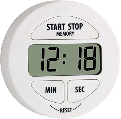 TFA Dostmann Cyfrowy timer i stoper, 38.2022.02, mały i poręczny, magnetyczny, z funkcją pamięci, biały, tworzywo sztuczne, dł. 65 x szer. 29 x wys. 100 mm