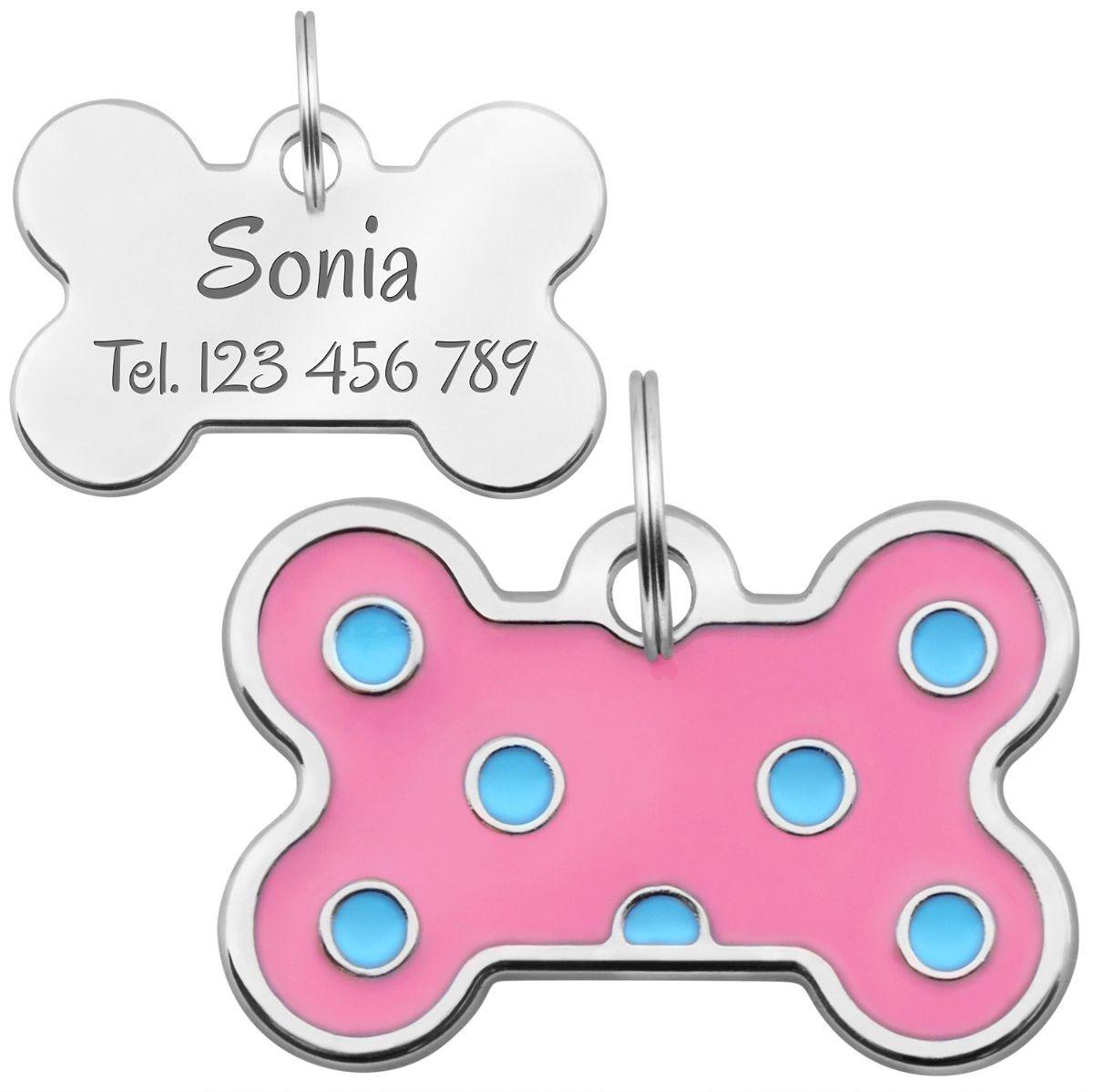 Identyfikator dla psa różowa kość Grawer