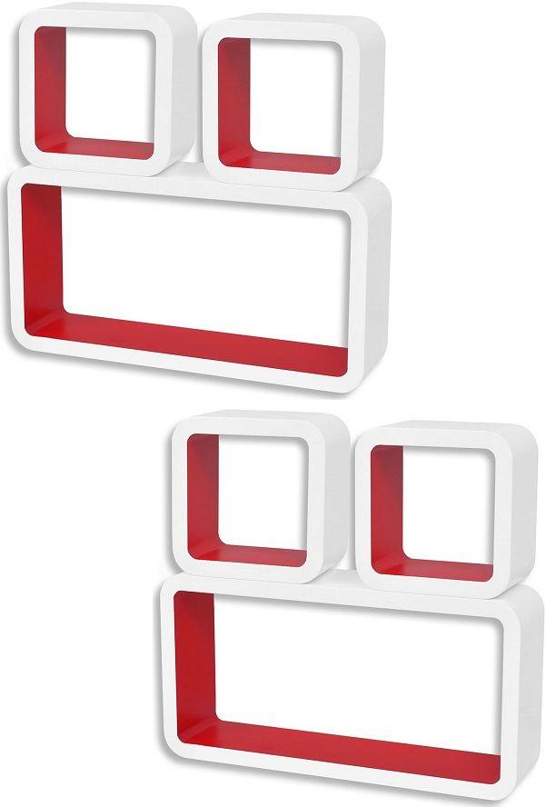 Zestaw biało-czerwonych półek ściennych - Lara 3X