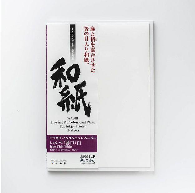Papier AWAGAMI Inbe Thin White 70 - A2, 10 arkuszy (IJ-0422)