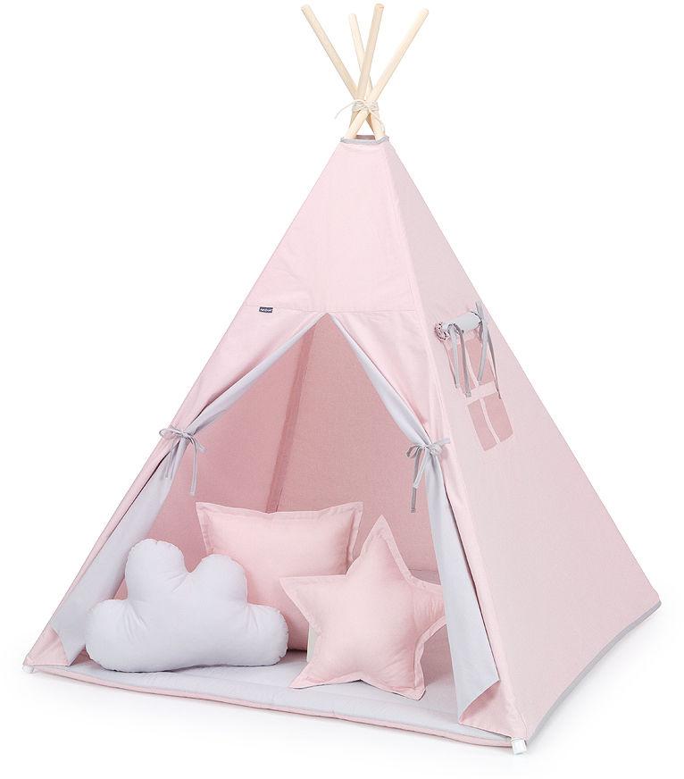 MAMO-TATO Namiot TIPI DUŻY z matą i poduszkami Różany / popiel