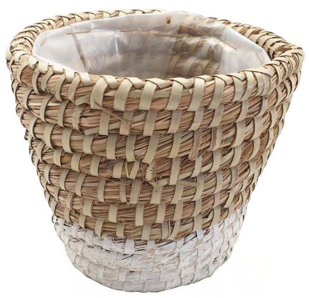 Osłona doniczki słomiana 14.5 cm KOSZ MOROCCAN naturalny/biały