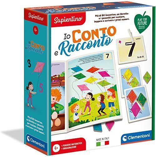 Clementoni - Sapientino-Io Conto i historia, gra edukacyjna wykonana w 100% z materiału pochodzącego z recyklingu - Made in Italy-Play for Future, 4 lata, 16272