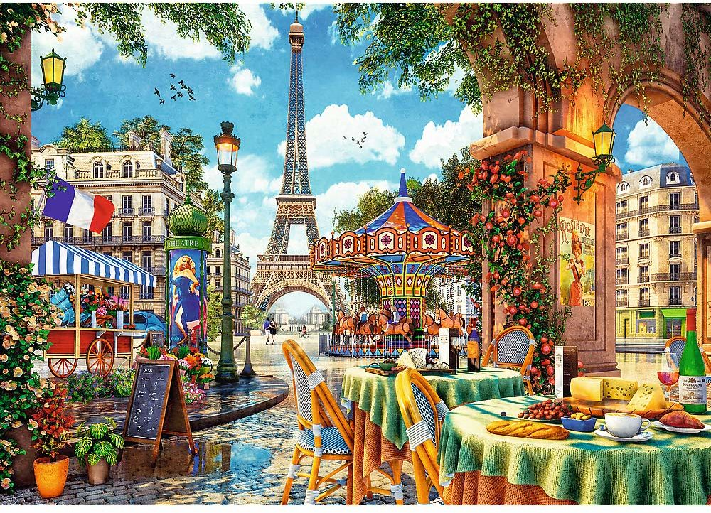Trefl - Paryski Poranek - 1000 Elementów, Uliczka w Paryżu, Restauracje, Wieża Eiffla, Śniadanie, Układanka DIY, Kreatywna Rozrwyka, Prezent, Zabawa, Puzzle Klasyczne dla Dorosłych i Dzieci od 12 Lat