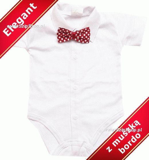 Body dla dzieci koszulowe kr łtki r kaw z ko nierzykiem i eleganck bordo muszk w kropki
