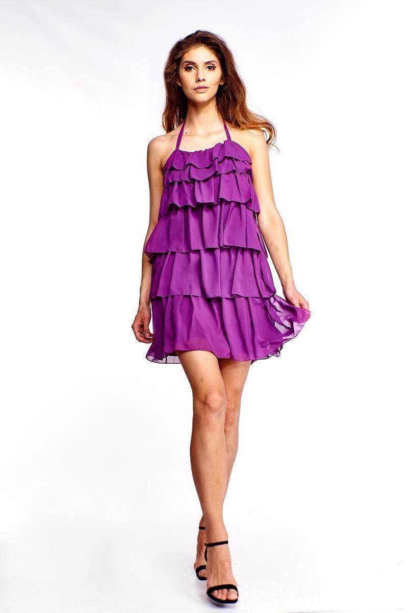 Sukienka FSU150 ŚLIWKOWY