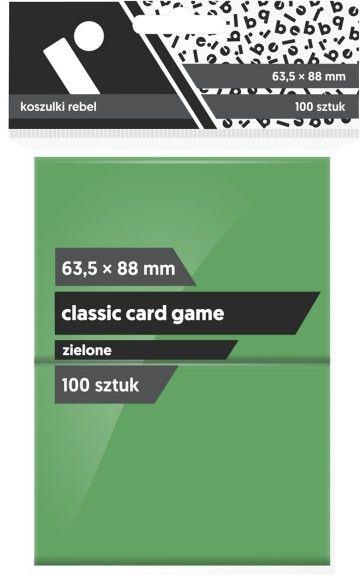"""Koszulki na karty Rebel (63,5x88 mm) """"Classic Card Game"""", 100 sztuk, Zielone ZAKŁADKA DO KSIĄŻEK GRATIS DO KAŻDEGO ZAMÓWIENIA"""