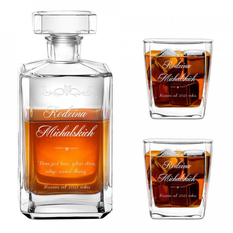 Karafka burbon 2 szklanki zestaw grawer rodzina dla pary na