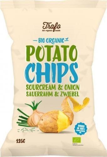 Chipsy ziemniaczane o smaku ŚMIETANKOWO - CEBULOWYM BIO 125 g Trafo