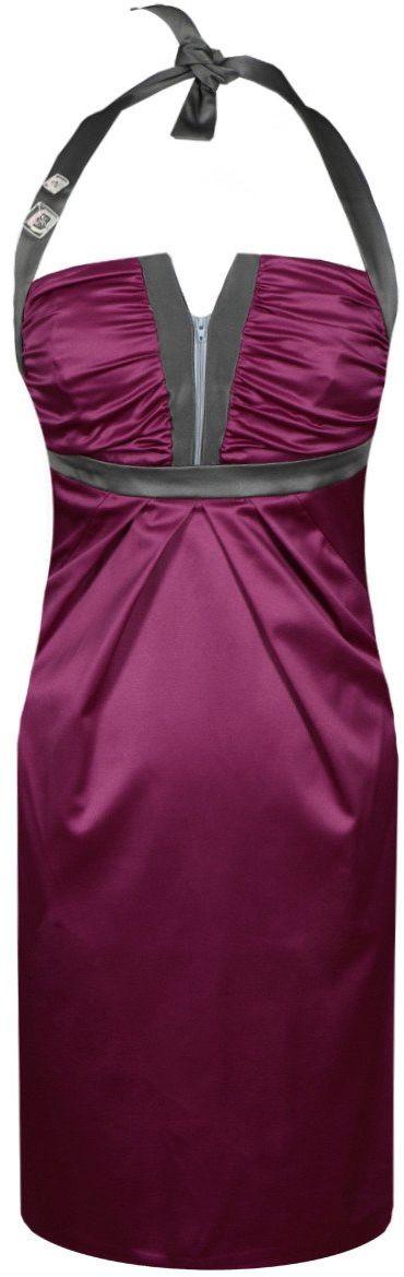 Sukienka FSU218 AMARANTOWY ŚREDNI SZARY