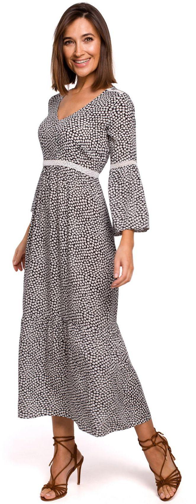 S222 Sukienka maxi w kwiaty z koronkowymi wstawkami - model 2