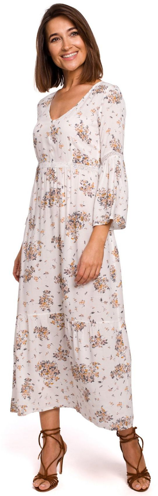 S222 Sukienka maxi w kwiaty z koronkowymi wstawkami - model 3