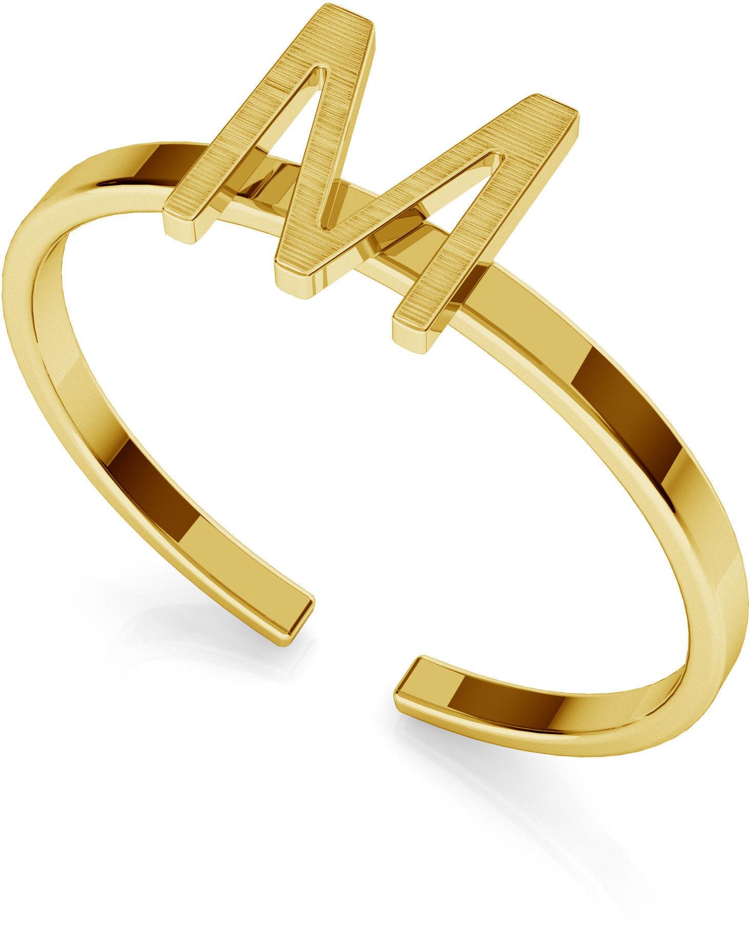 Srebrny pierścionek z literką My RING, srebro 925 : Litera - U, Srebro - kolor pokrycia - Pokrycie żółtym 18K złotem
