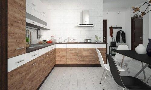 Zestaw mebli kuchennych laminowanych PREMIUM seria GIMBA, front struktura drewna