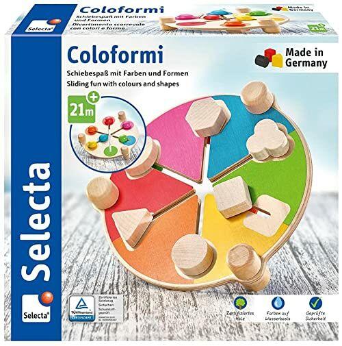 Coloformi, Schiebespaß mit Farben und Formen, 19 cm: Selecta Holzspielzeug Kleinkindwelt