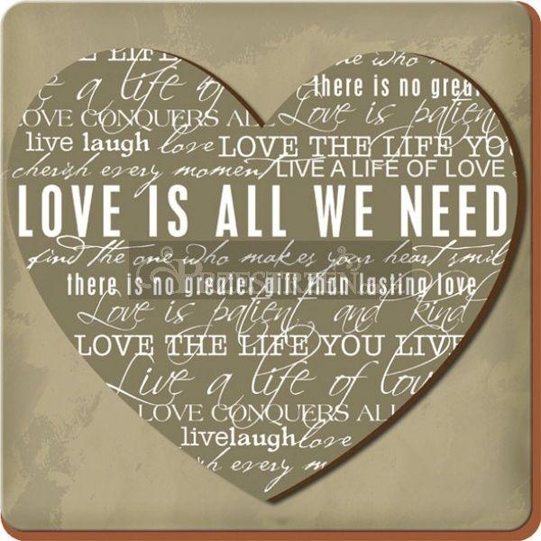 PODKŁADKI KORKOWE - LOVE IS ALL WE NEED - MAŁE