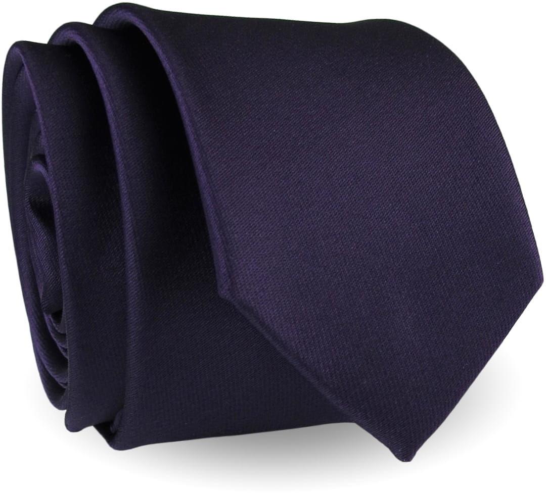 Krawat Męski Elegancki Modny Klasyczny szeroki gładki ciemny fiolet śliwka G309