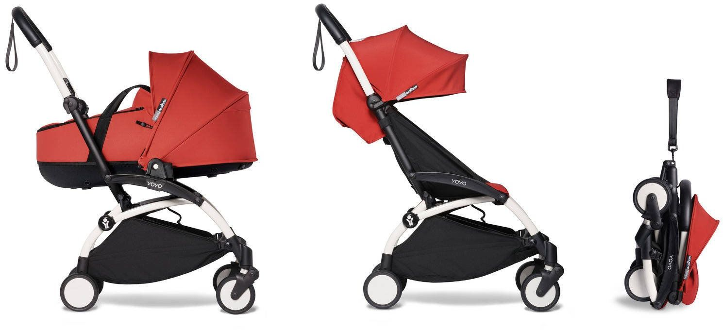BABYZEN YOYO - kompletny zestaw biała rama/gondola /tapicerka 6+ - Red