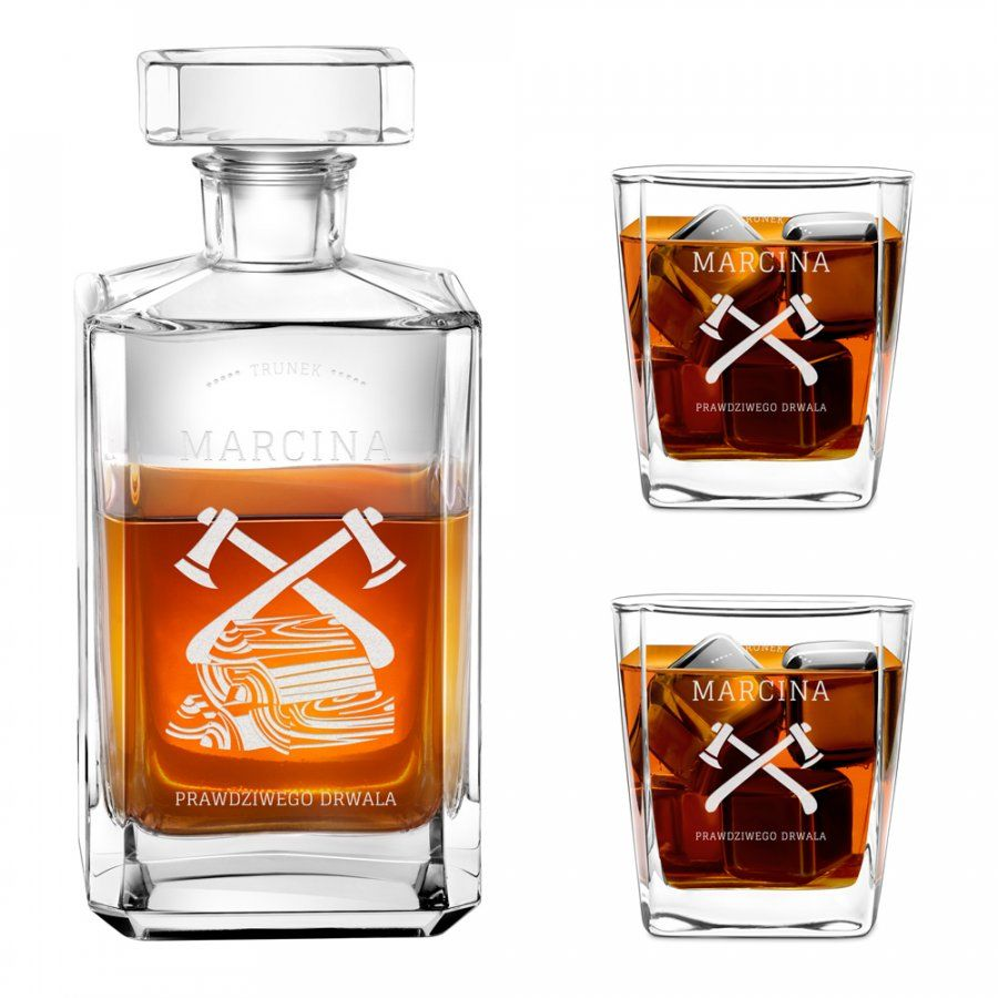 Karafka burbon 2 szklanki zestaw grawer dla prawdziwego drwala