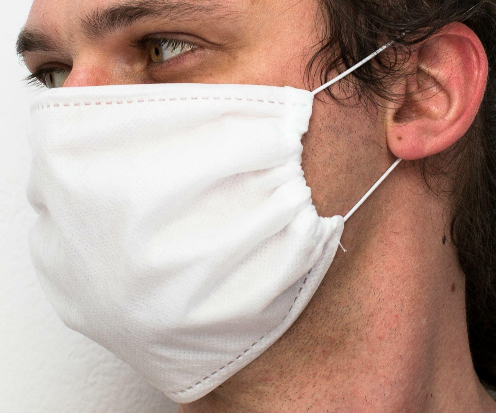 Maseczka ochronna na twarz poliestrowa komplet 10 szt. wielokrotnego użytku biała z czterech warstw na gumki