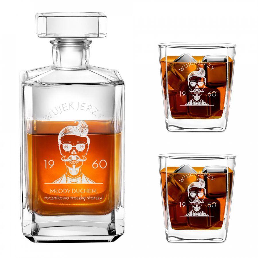 Karafka burbon 2 szklanki zestaw grawer młody duchem dla wujka na