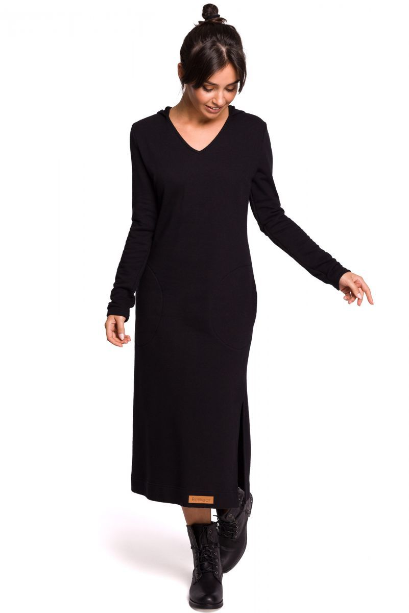B128 Sukienka maxi z kapturem - czarna