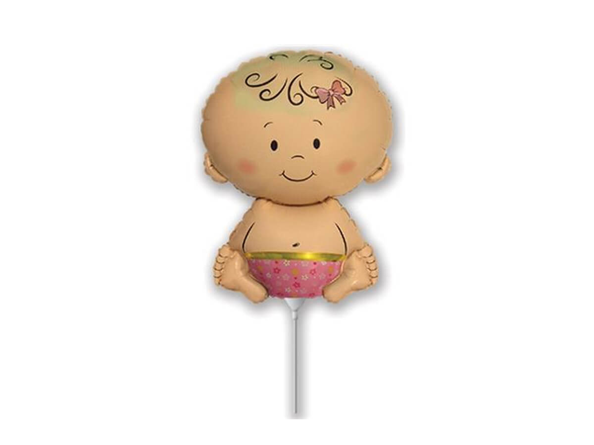 Balon foliowy do patyka Dzidziuś dziewczynka - 36 cm - 1 szt.