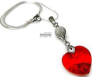 piękny naszyjnik SWAROVSKI RED HEART