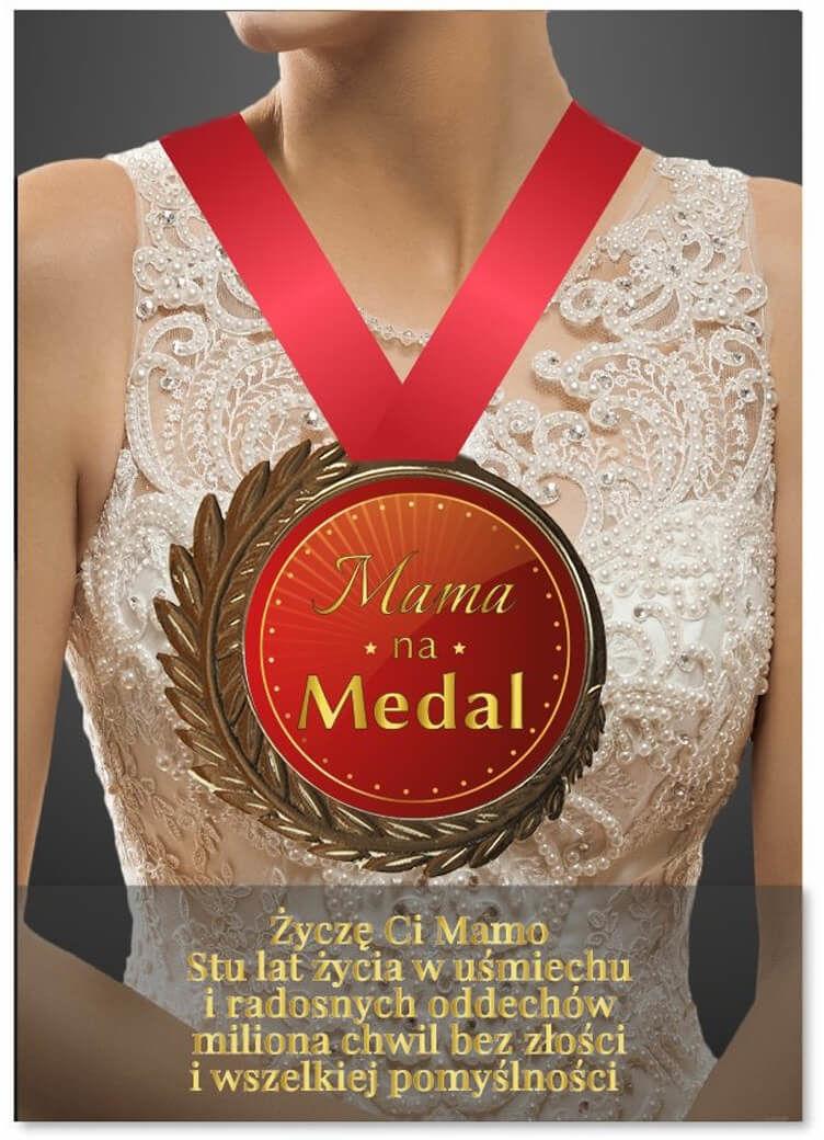 Kartka z medalem Mama na medal - 1 szt.