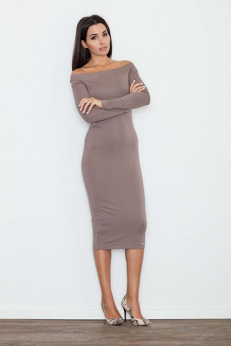Brązowa ołówkowa sukienka za kolano z szerokim dekoltem