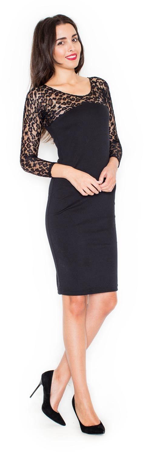 Czarna elegancka ołówkowa sukienka z koronkowym długim rękawem