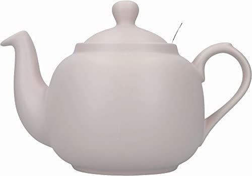Londyńska ceramika wiejska czajniczek z zaparzaczem w pudełku upominkowym, ceramiczny, skandynawski różowy, 6 filiżanek (1,5 litra)
